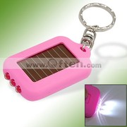 Mini Solar Power Rechargeable 3 LEDs Flashlight Keychain-Pink