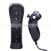 Wii Remote and Nunchuk Controller with Protective Case for Wii (Black)